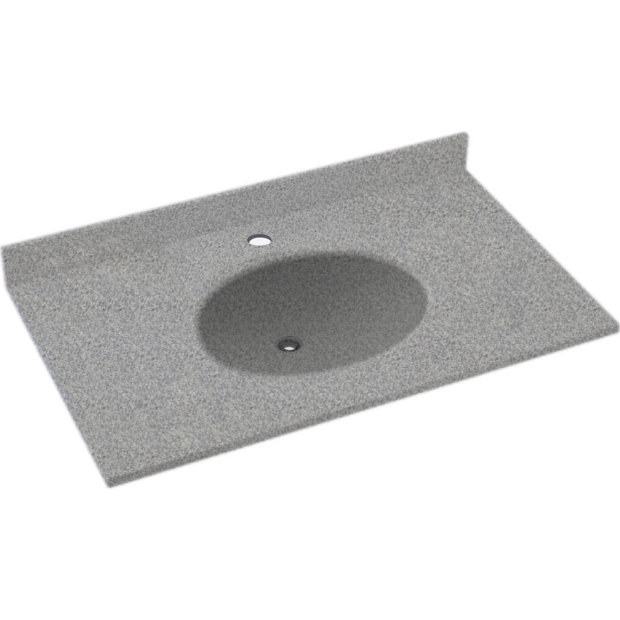 Swanstone Ellipse Gray Granite Solid Surface Integral Single Sink Bathroom Vanity Top (Common: 25-in x 22-in; Actual: 25-in x 22-in)