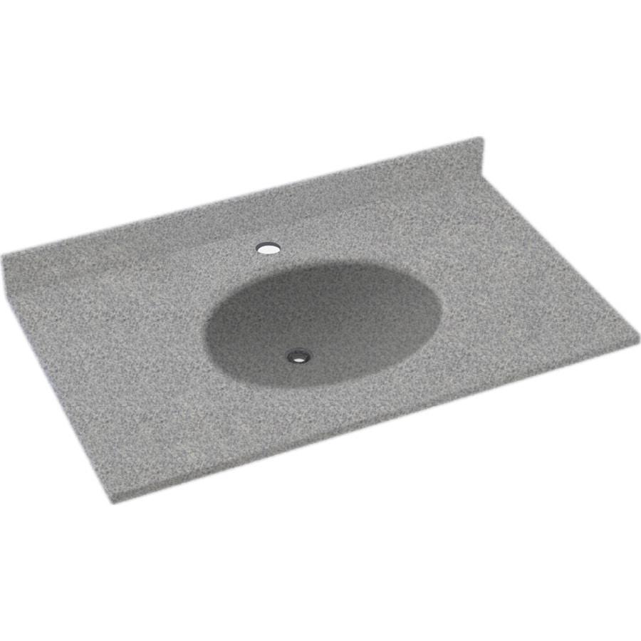 Swanstone Ellipse Gray Granite Solid Surface Integral Single Sink Bathroom Vanity Top (Common: 31-in x 22-in; Actual: 31-in x 22-in)