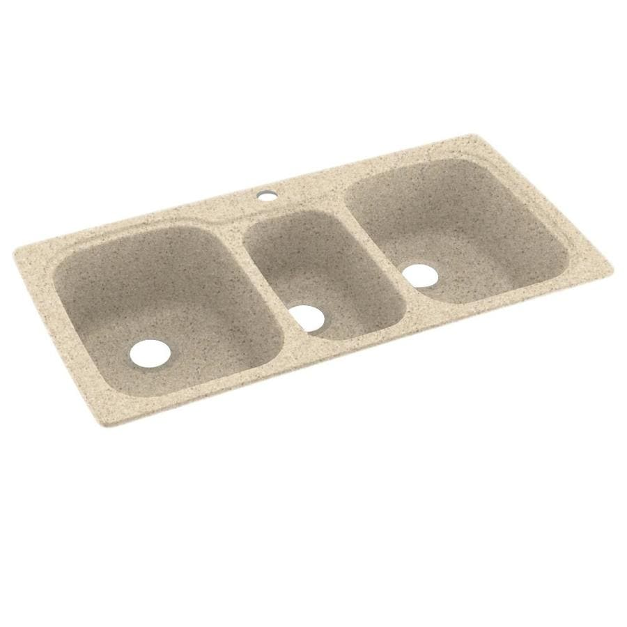Swanstone 22-in x 44-in Bermuda Sand Triple-Basin Composite Drop-In 1-Hole Residential Kitchen Sink