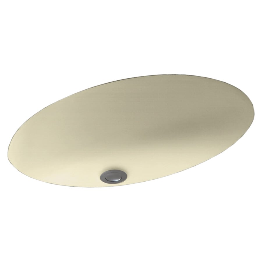 Swanstone Bone Composite Undermount Oval Bathroom Sink with Overflow