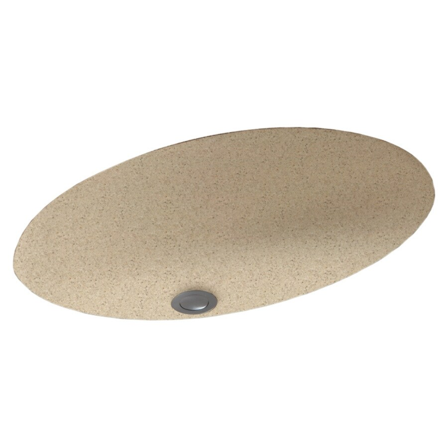 Swanstone Bermuda Sand Composite Undermount Oval Bathroom Sink with Overflow