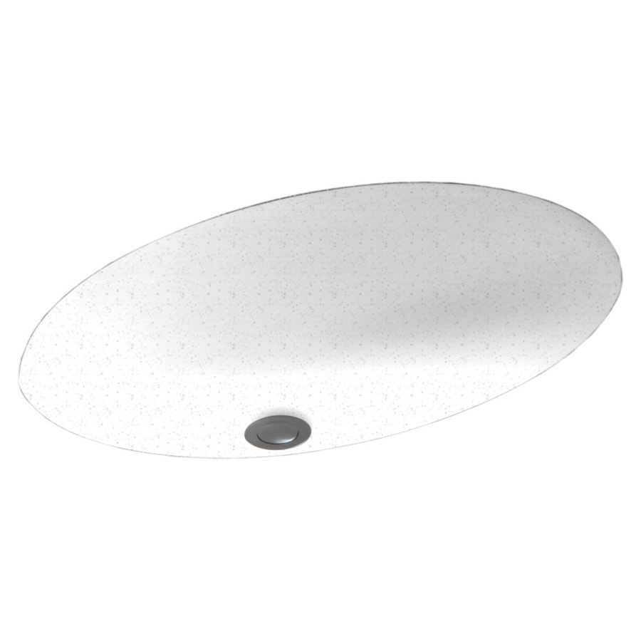 Swanstone Arctic Granite Solid Surface Undermount Oval Bathroom Sink and Overflow