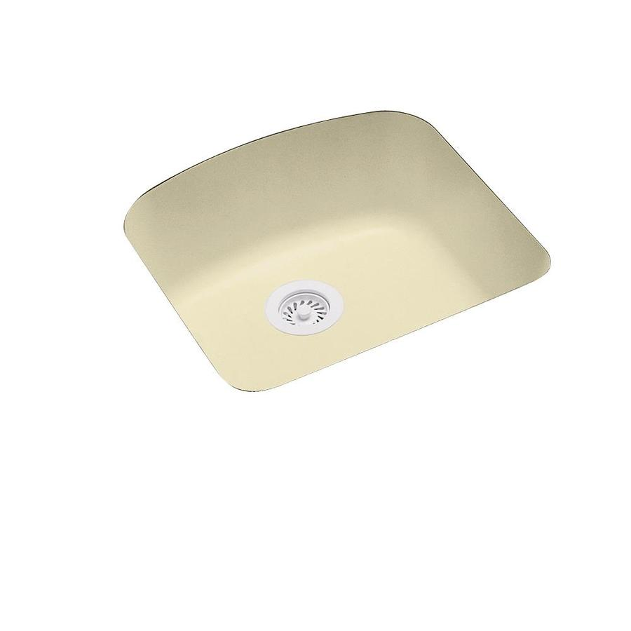 Swanstone 20.2500-in x 21.0000-in Bone Single-Basin Composite Undermount Residential Kitchen Sink