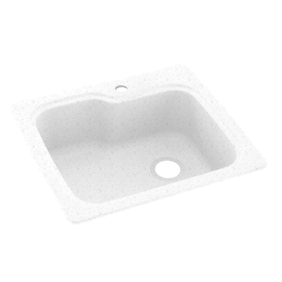 Swanstone 22.0000-in x 25.0000-in Arctic Granite Single-Basin Composite Drop-in or Undermount 1-Hole Residential Kitchen Sink