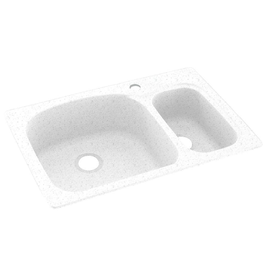 Swanstone 22-in x 33-in Arctic Granite Double-Basin Composite Drop-in or Undermount 1-Hole Residential Kitchen Sink