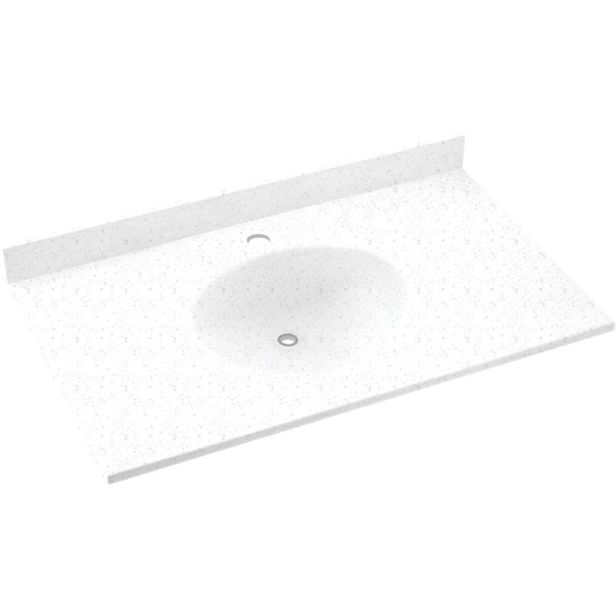 Swanstone Ellipse Arctic Granite Solid Surface Integral Single Sink Bathroom Vanity Top (Common: 37-in x 22-in; Actual: 37-in x 22-in)