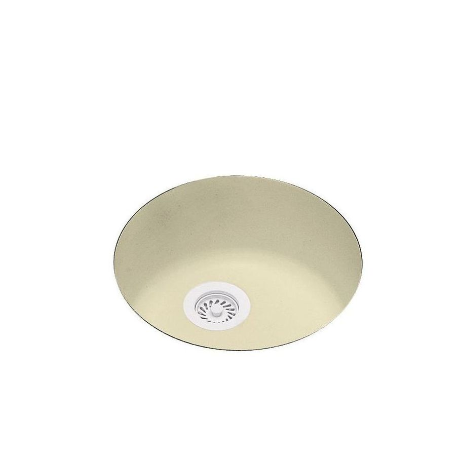 Swanstone 18.5-in x 18.5-in Bone Single-Basin-Basin Composite Undermount (Customizable)-Hole Residential Kitchen Sink