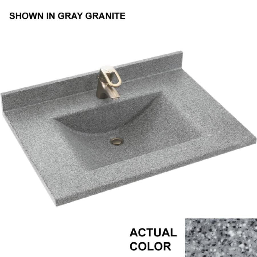 Swanstone Contour Gray Granite Solid Surface Integral Single Sink Bathroom Vanity Top (Common: 25-in x 22-in; Actual: 25-in x 22-in)
