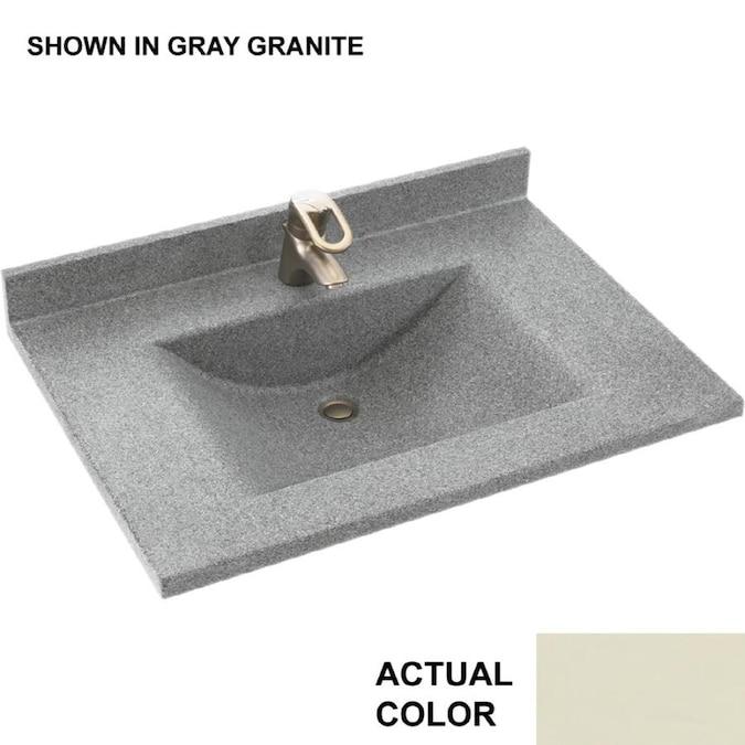 Swan Contour 31 In Bone Solid Surface Single Sink Bathroom Vanity Top In The Bathroom Vanity Tops Department At Lowes Com