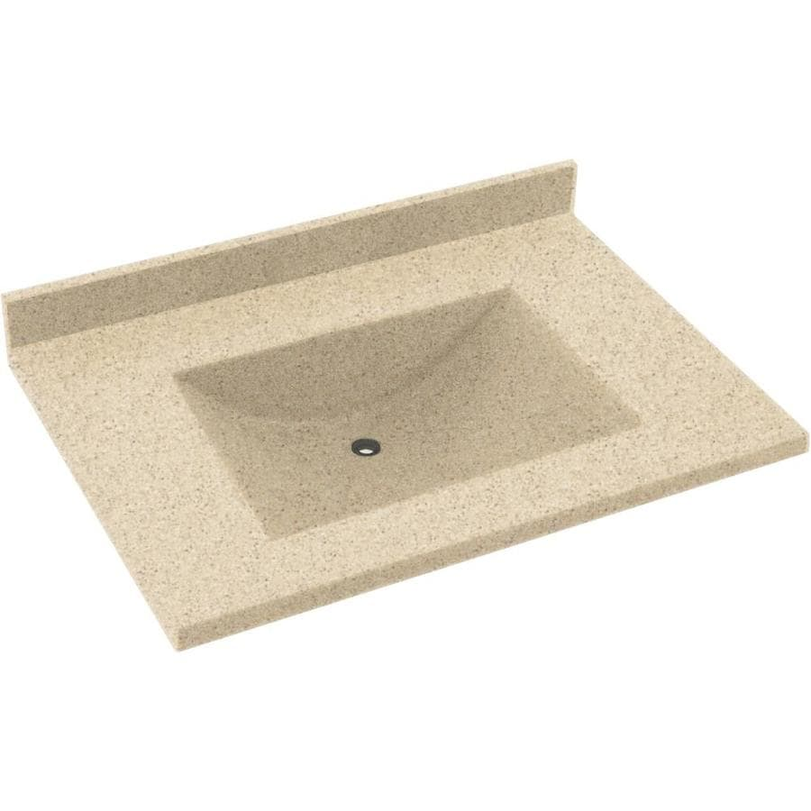 Swanstone Contour Bermuda Sand Solid Surface Integral Single Sink Bathroom Vanity Top (Common: 37-in x 22-in; Actual: 37-in x 22-in)