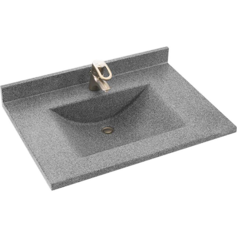 Solid Surface Bathroom Sink: Shop Swanstone Contour Gray Granite Solid Surface Integral