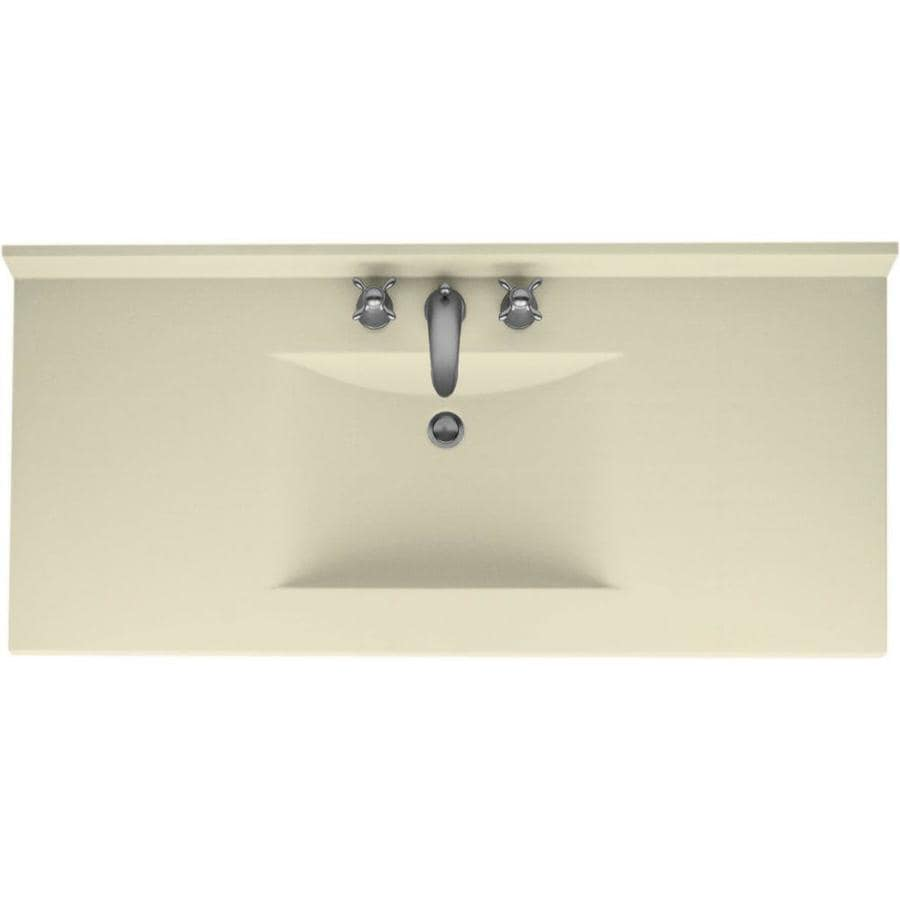 Swanstone Contour Bone Solid Surface Integral Single Sink Bathroom Vanity Top (Common: 49-in x 22-in; Actual: 49-in x 22-in)
