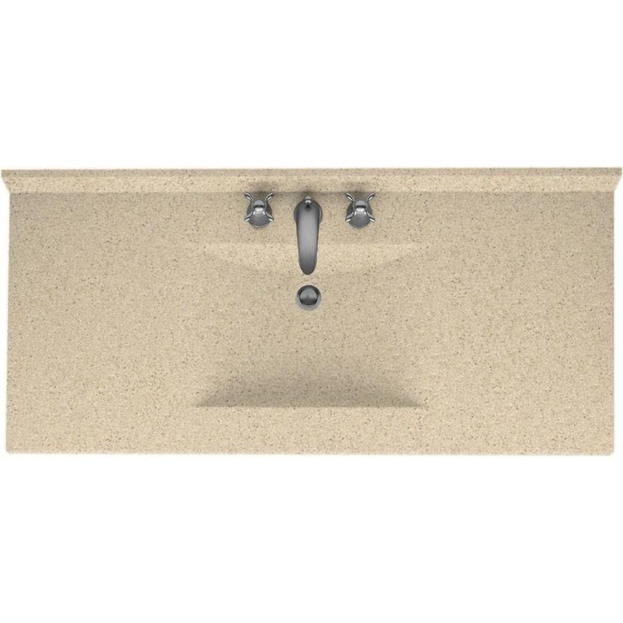 Shop Swanstone Contour Bermuda Sand Solid Surface Integral Single Sink Bathroom Vanity Top