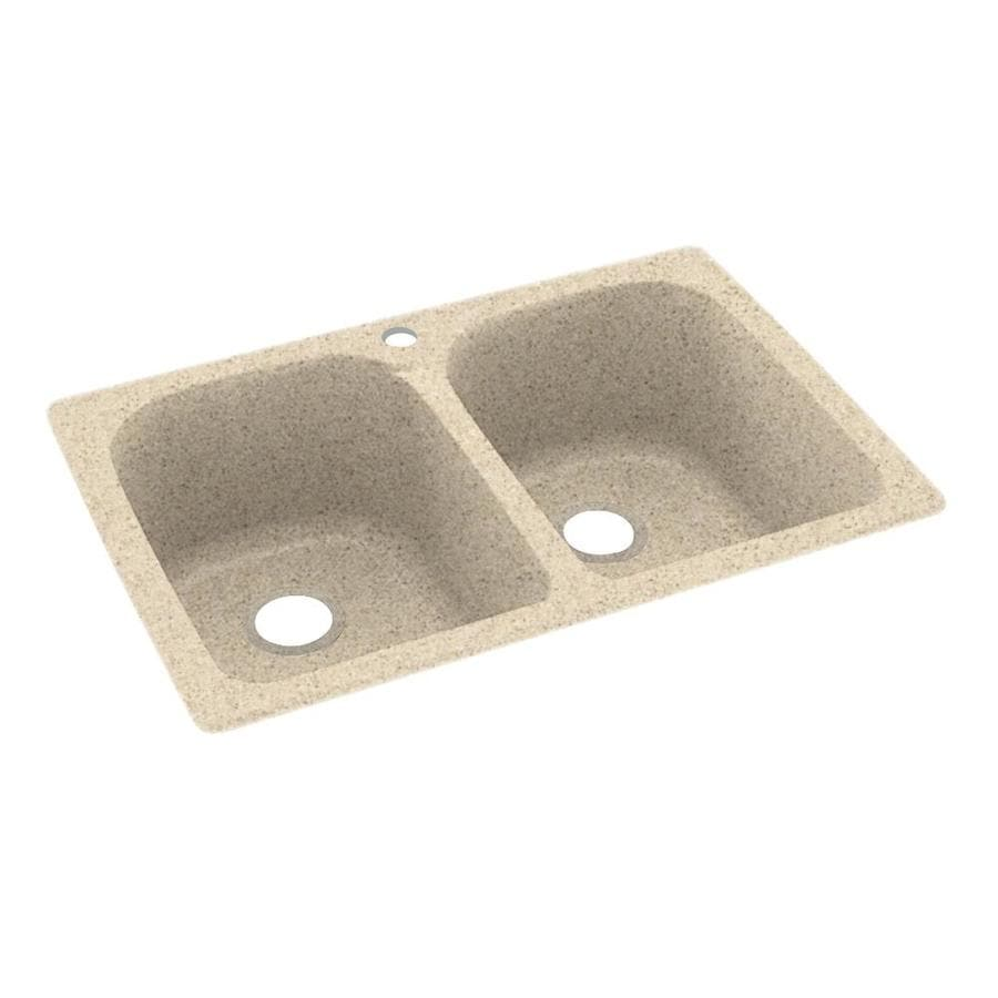 Swanstone 22-in x 33-in Bermuda Sand Double-Basin Composite Drop-in or Undermount 1-Hole Residential Kitchen Sink