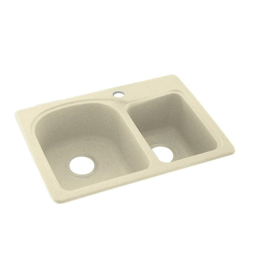 Swanstone 18.0000-in x 25.0000-in Bone Double-Basin Composite Drop-in or Undermount 1-Hole Residential Kitchen Sink