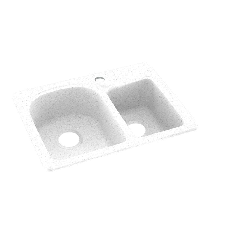 Swanstone 18.0000-in x 25.0000-in Arctic Granite Double-Basin Composite Drop-in or Undermount 1-Hole Residential Kitchen Sink