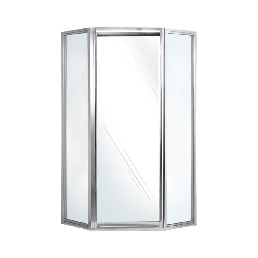 Swanstone 38-in to 38-in Framed Polished chrome Hinged Shower Door