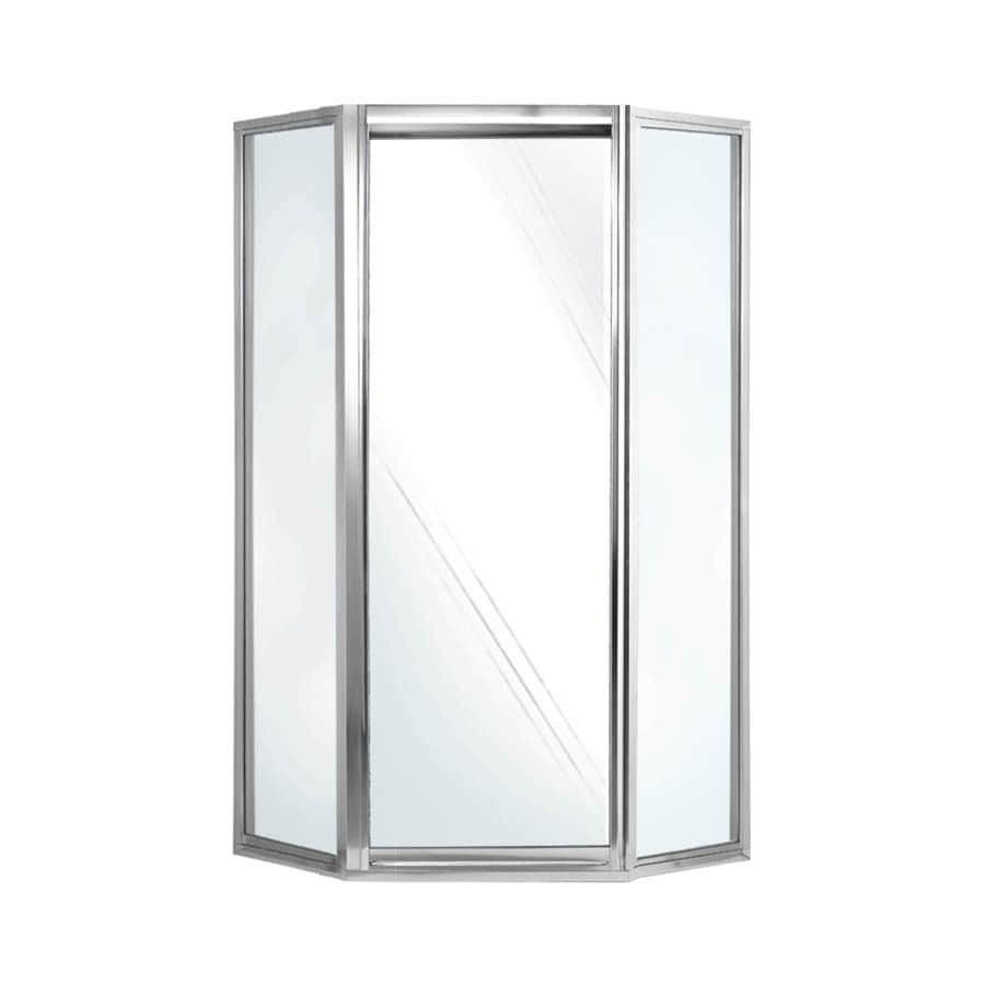 Swanstone 36-in to 36-in Framed Polished chrome Hinged Shower Door