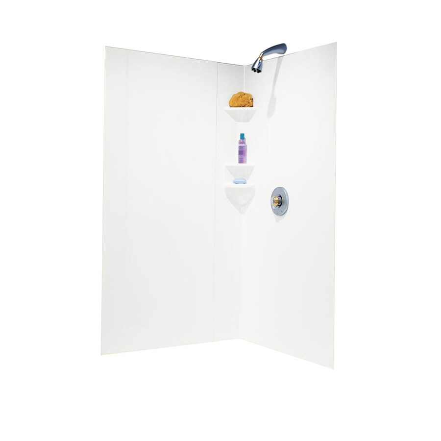 Shop Swanstone White Shower Wall Surround Corner Wall Kit Common 38 In X 38