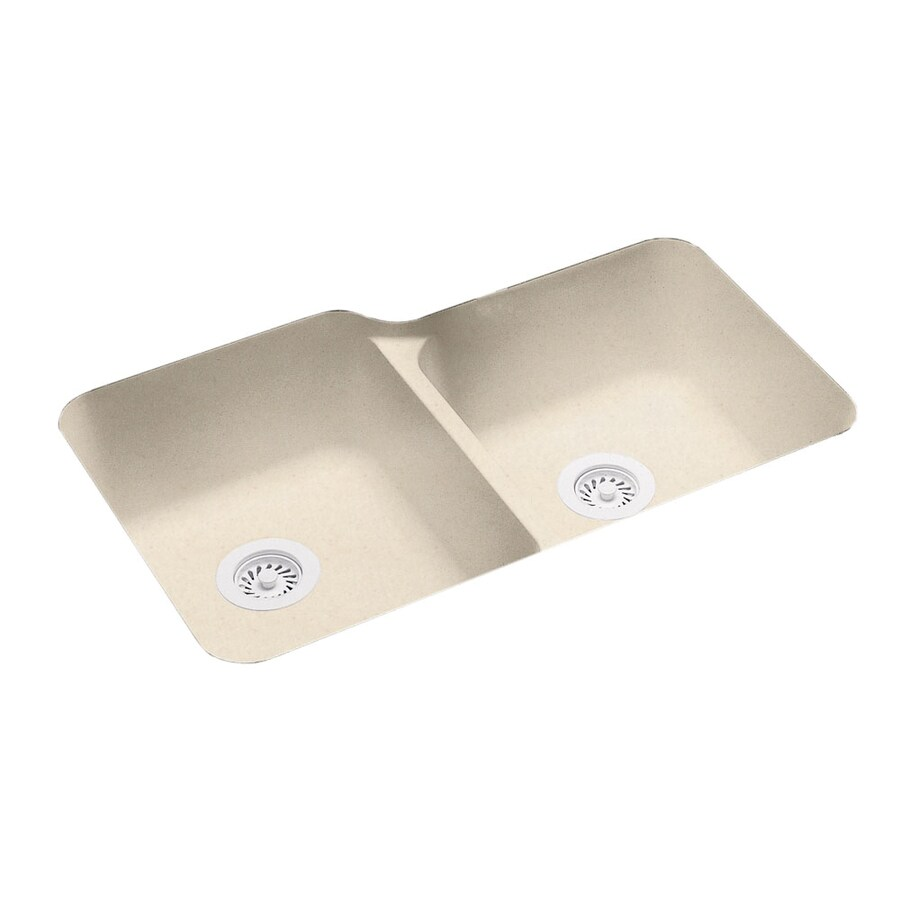 Swanstone 21.25-in x 33-in Tahiti Sand Double-Basin Composite Undermount Residential Kitchen Sink