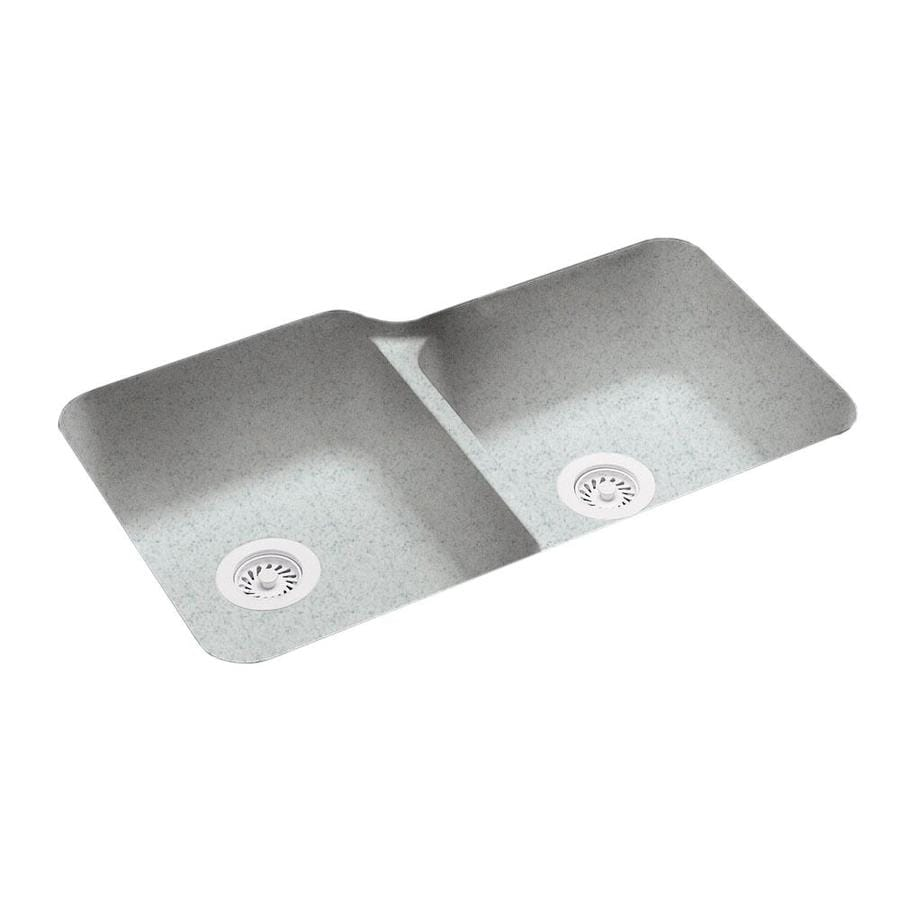 Swanstone 21.25-in x 33-in Tahiti Gray Double-Basin Composite Undermount Residential Kitchen Sink