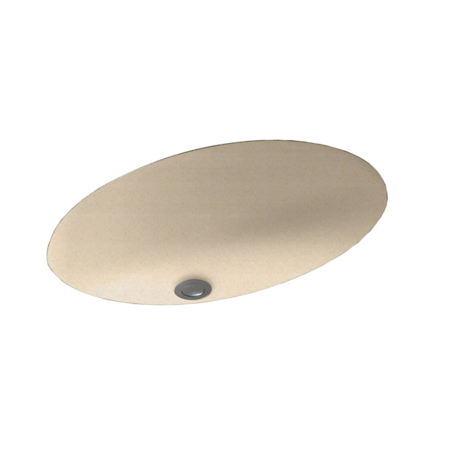 Swanstone Tahiti Sand Solid Surface Undermount Oval Bathroom Sink and Overflow