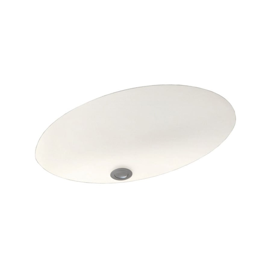 Swanstone Tahiti Ivory Solid Surface Undermount Oval Bathroom Sink and Overflow