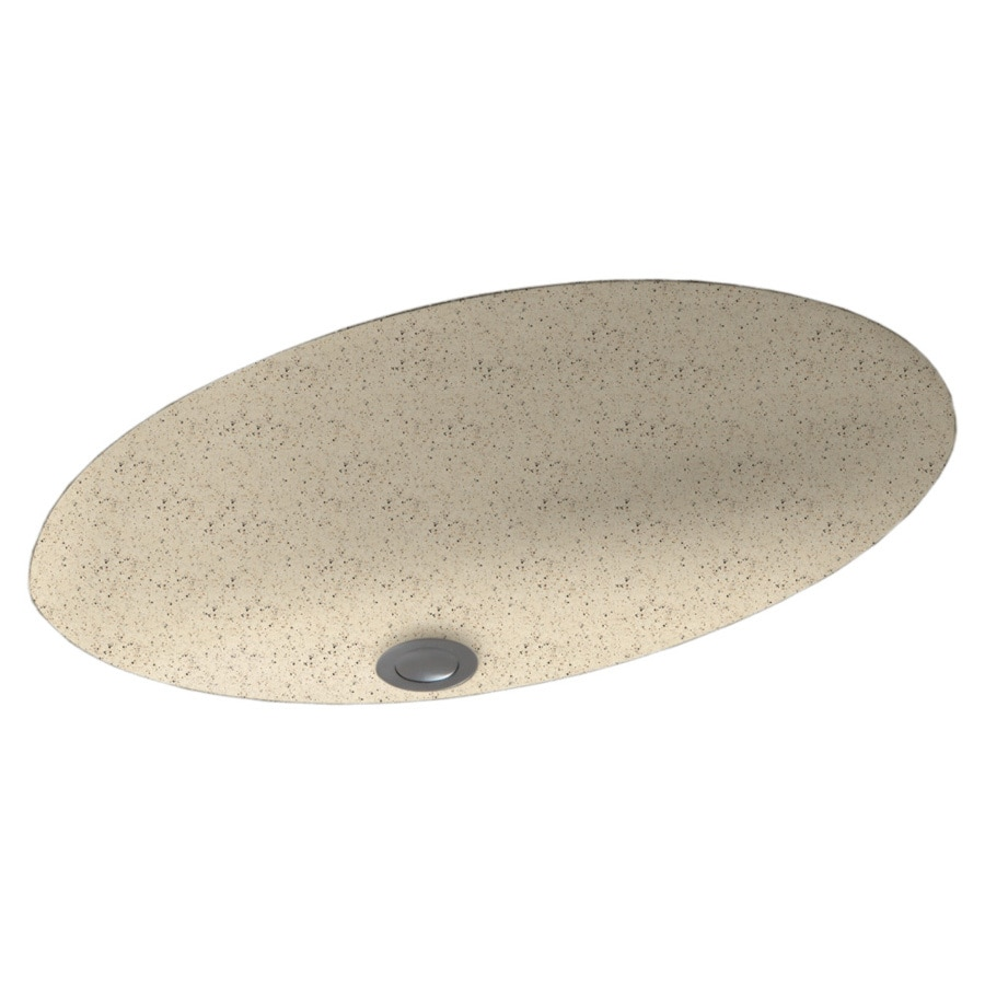 Swanstone Tahiti Desert Solid Surface Undermount Oval Bathroom Sink and Overflow