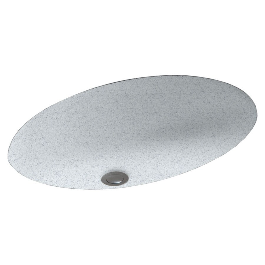 Swanstone Tahiti Gray Solid Surface Undermount Oval Bathroom Sink and Overflow