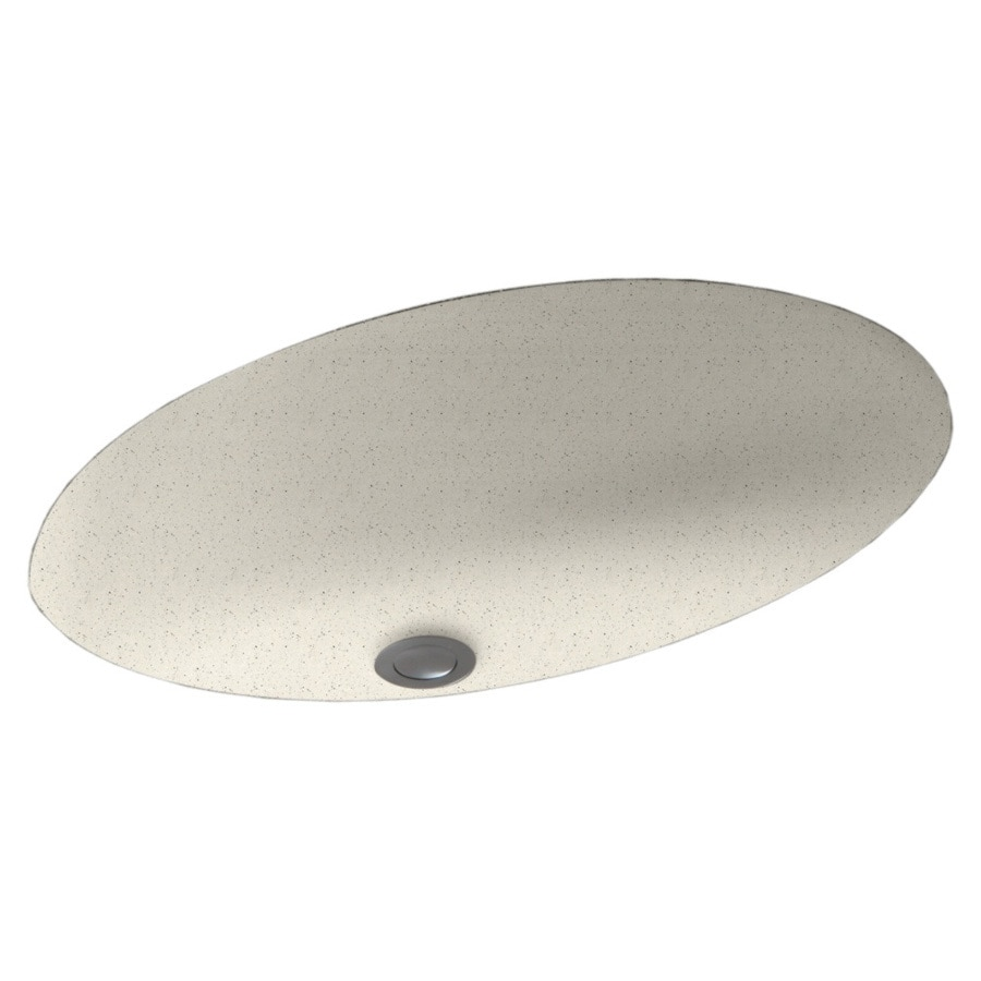 Swanstone Tahiti Matrix Solid Surface Undermount Oval Bathroom Sink and Overflow