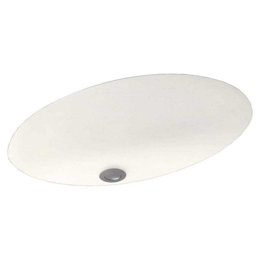 Swanstone Tahiti Ivory Solid Surface Undermount Oval Bathroom Sink and Overflow