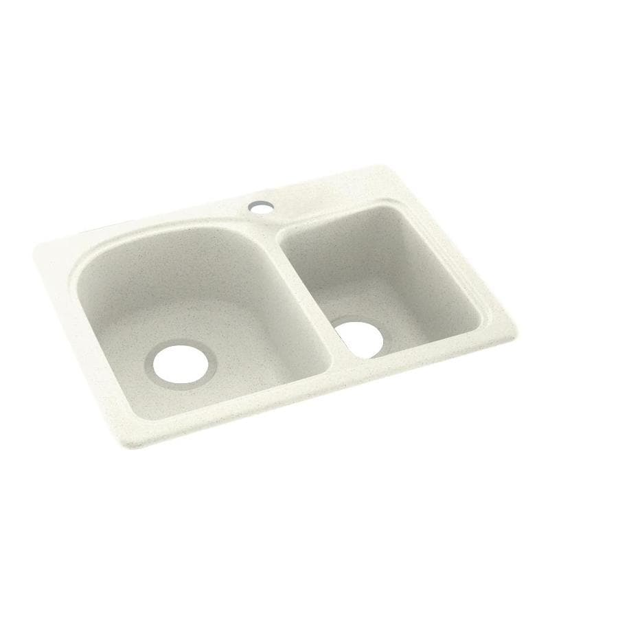 Swanstone 18-in x 25-in Bisque Double-Basin Composite Drop-in or Undermount 1-Hole Residential Kitchen Sink