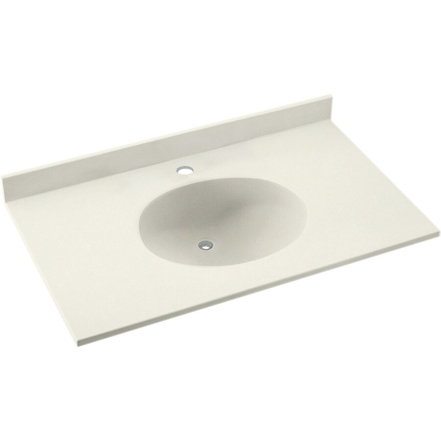 Swanstone Ellipse Bisque Solid Surface Integral Single Sink Bathroom Vanity Top (Common: 31-in x 19-in; Actual: 31-in x 19-in)