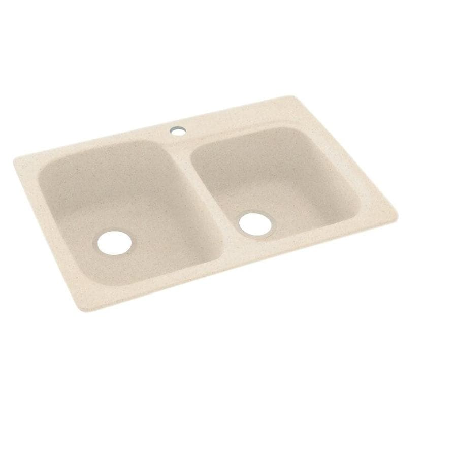 Swanstone 22-in x 33-in Tahiti Sand Double-Basin Composite Drop-in or Undermount 1-Hole Residential Kitchen Sink