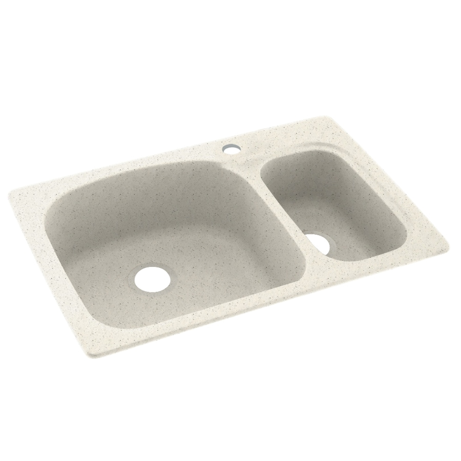 Swanstone 22-in x 33-in Tahiti Matrix Double-Basin Composite Drop-in or Undermount 1-Hole Residential Kitchen Sink