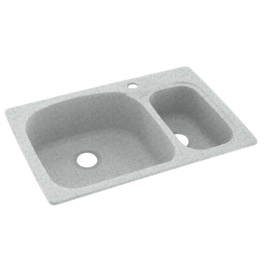 Swanstone 22-in x 33-in Tahiti Gray Double-Basin Composite Drop-in or Undermount 1-Hole Residential Kitchen Sink