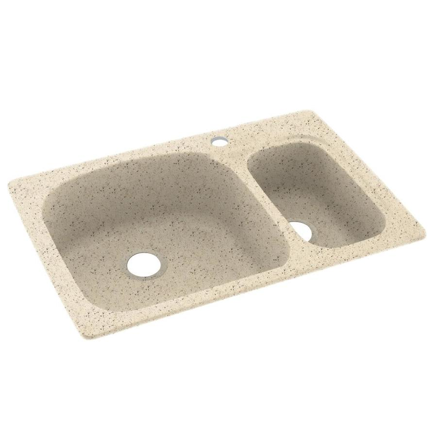 Swanstone 22-in x 33-in Tahiti Desert Double-Basin Composite Drop-in or Undermount 1-Hole Residential Kitchen Sink