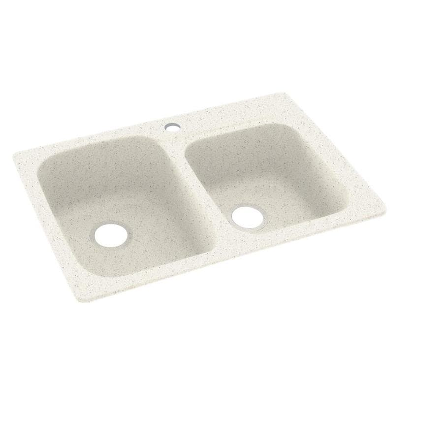 Swanstone 22-in x 33-in Tahiti Matrix Double-Basin Composite Drop-In 1-Hole Residential Kitchen Sink