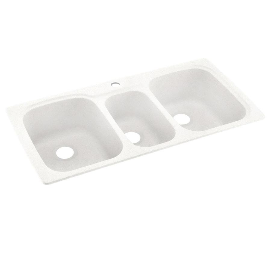 Swanstone 22-in x 44-in Tahiti Ivory Triple-Basin Composite Drop-in or Undermount 1-Hole Residential Kitchen Sink