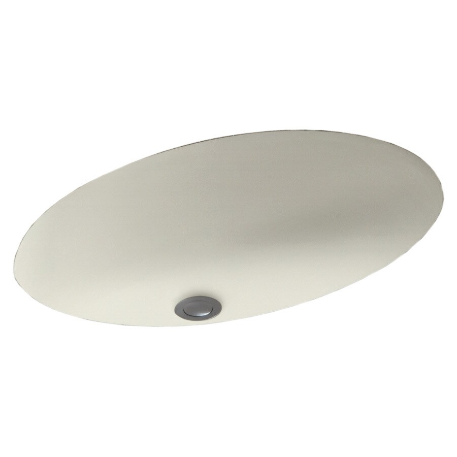 Swanstone Bisque Composite Undermount Oval Bathroom Sink with Overflow