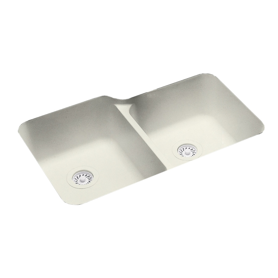 Swanstone 21.2500-in x 33.0000-in Bisque Double-Basin Composite Undermount Residential Kitchen Sink