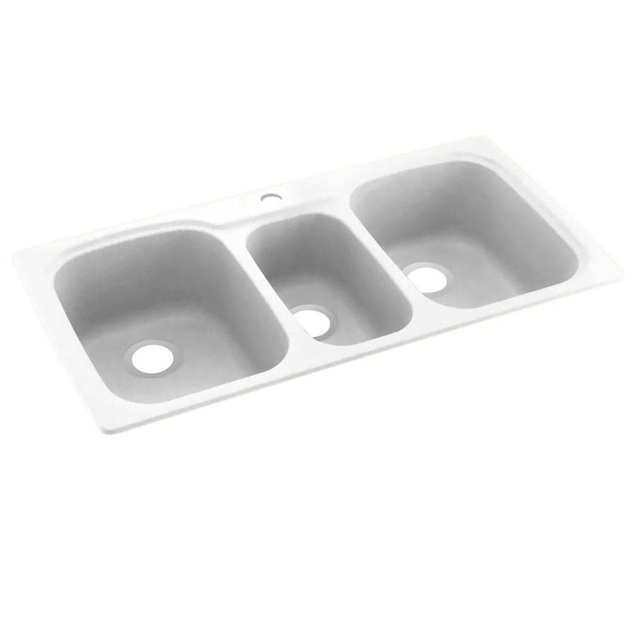 Swanstone 22-in x 44-in White Triple-Basin Composite Drop-in or Undermount 1-Hole Residential Kitchen Sink