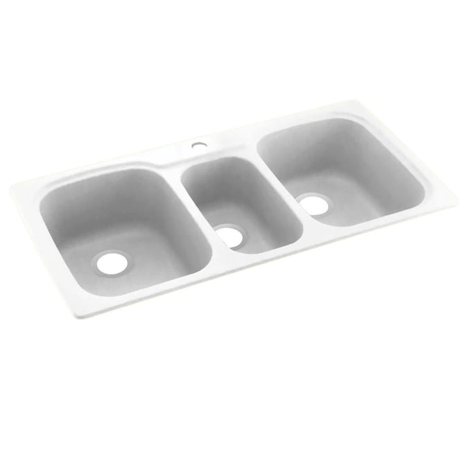 Swan Dual Mount 44 In X 22 In White Triple Bowl 1 Hole Kitchen Sink In The Kitchen Sinks Department At Lowes Com