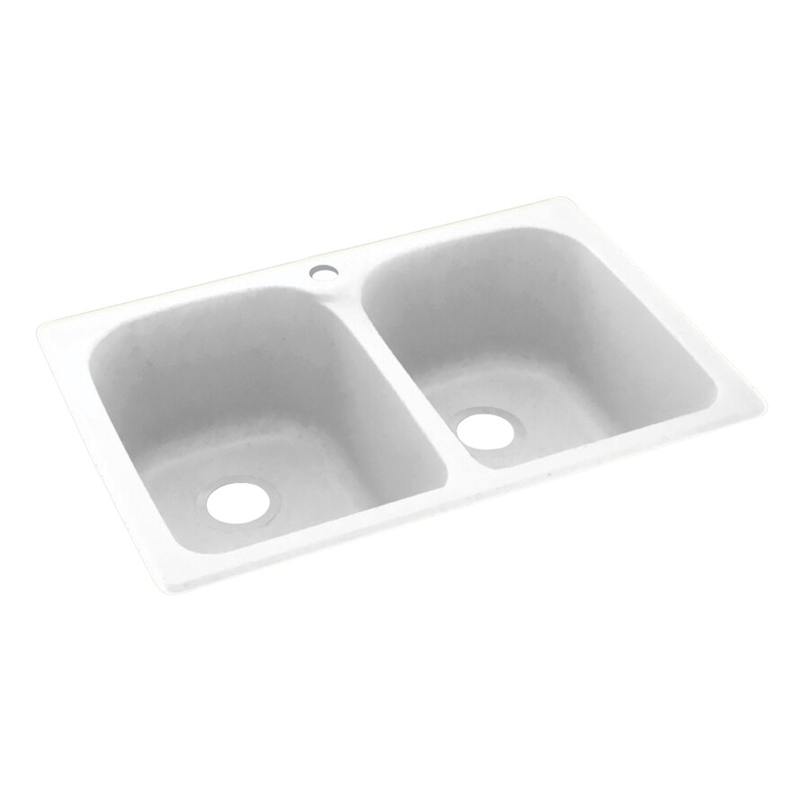 Swanstone 22.0000-in x 33.0000-in White Double-Basin Composite Drop-in or Undermount 1-Hole Residential Kitchen Sink