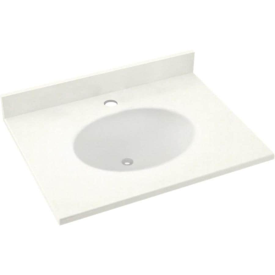 Solid Surface Bathroom Sink: SWAN Ellipse Tahiti Ivory Solid Surface Integral Single