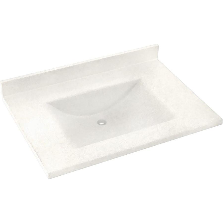 Swanstone Contour Tahiti Ivory Solid Surface Integral Single Sink Bathroom Vanity Top (Common: 37-in x 22-in; Actual: 37-in x 22-in)
