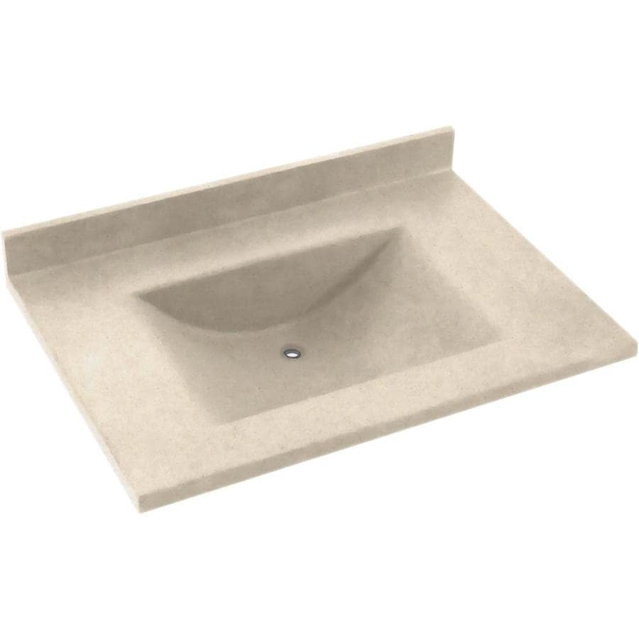 Swanstone Contour Tahiti Sand Solid Surface Integral Single Sink Bathroom Vanity Top (Common: 37-in x 22-in; Actual: 37-in x 22-in)