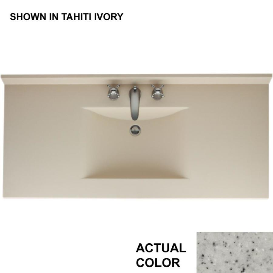 Swanstone Contour Tahiti Gray Solid Surface Integral Single Sink Bathroom Vanity Top (Common: 49-in x 22-in; Actual: 49-in x 22-in)