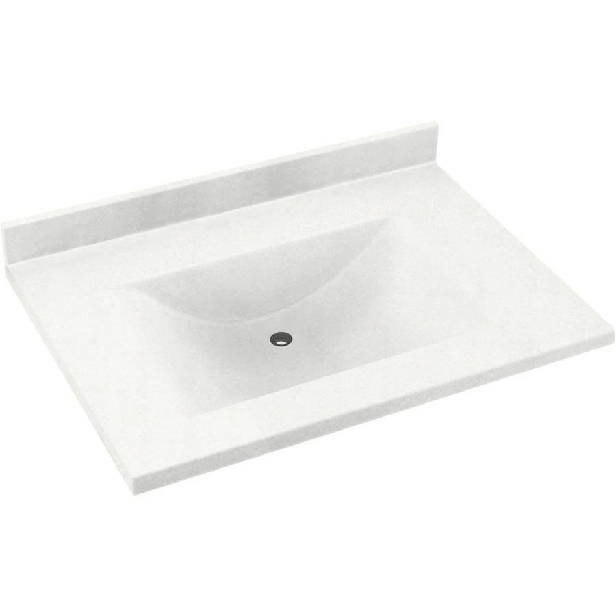Swanstone Contour Tahiti White Solid Surface Integral Single Sink Bathroom Vanity Top (Common: 37-in x 22-in; Actual: 37-in x 22-in)