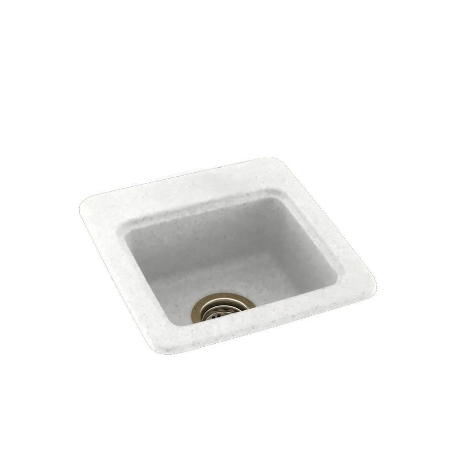 Swanstone Tahiti White Single-Basin 1-Hole Composite Drop-in or Undermount Residential Bar Sink